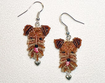 AIREDALE LOVE beaded sterling silver terrier dangly dog earrings (Made to Order)