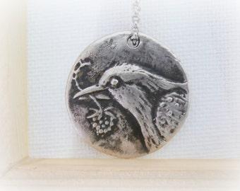 Sterling Silver Necklace, Bird Necklace, Sterling Silver Crow, Bird Pendant, Handmade Sterling Silver Raven Pendant Necklace