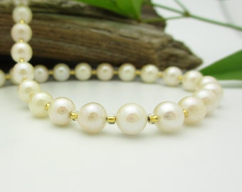 South Sea Pearl Necklace with 14k Gold Clasp, Natural Ivory Pearls, High Quality, 16.5 Inches - Free Gift Wrapping