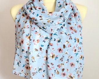 Boho Scarves Blue Scarves for Women Boho Scarfs for Woman Spring Scarf Blue Scarf Women Scarves Floral Birthday Gift for Mom Mothers Day