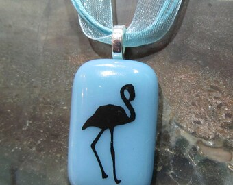 Fused Glass Pendant: Fred the Flamingo