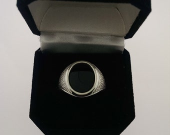 Size 10 Black Onyx  Men's Ring in 935 sterling silver
