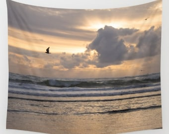 Large Beach Decor ~ Beach Tapestry ~ Oversized Ocean Decor ~ Ocean Wall Tapestry ~ Ocean Tapestry ~ Sunset Tapestry ~ Pale Purple Tapestry