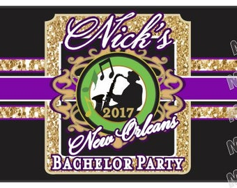Bachelor Party Cigar Bands - Custom Wedding Party Labels - Groomsman Cigar Bands - Jazz Fest - New Orleans - Mardi Gras
