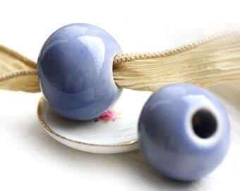 Extra Large round beads, Light Ink Blue, greek ceramic, organic round, enamel coating, 20mm - F056