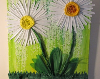 "Mixed Media Collage ""Affirmation Daisies"" Series Art Piece,  Large Canvas"