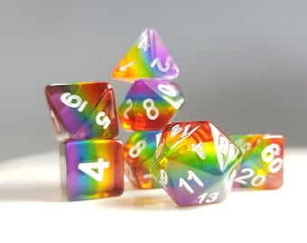 """DnD Dice Set / Rainbow ROYGBIV  """"Spectrum"""" / Tabletop RPG Polyhedral dice, D&D dice set / Dungeons and Dragons dice set, Critical Role Pride"""