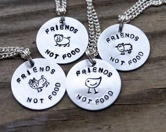 Friends Not Food Necklace - Hand Stamped Jewelry - Vegan/Vegetarian - Farm Animals - Cow/Chicken/Pig/Sheep - Custom - Herbivore - Animal Lvr