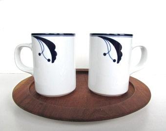 Set of 2 Dansk Flora Bayberry Tall Coffee Mugs, Danish Modern Blue And White Coffee Cups, Scandinavian Coffee Tea Cups