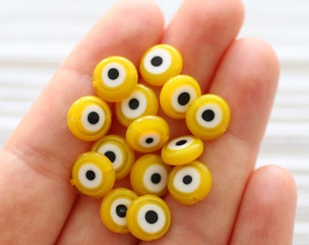 12pc-10mm yellow evil eye beads, flat glass beads, lamp work beads, golden, yellow evileye, glass beads,handmade, round evileye beads