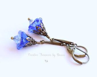 Blue Czech Glass Bell Flower Earrings Brass Earrings Swarovski Crystal Blue Trumpet Glass Flowers Victorian Earrings