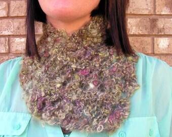scrfl001 Hand Knit  OOAK  Mohair Scarflette Hand Spun Mohair Art Yarn