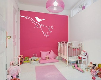 Large Wall Tree Branch Nursery Decal With Bird on Branch 1113 (4 feet wide)