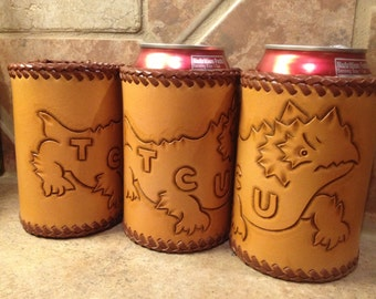 Tooled Leather Canned Drink Holder