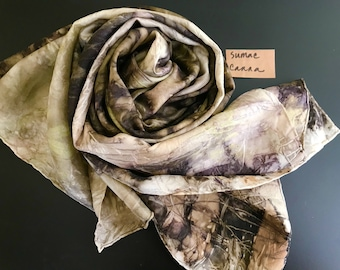 Naturally dyed silk scarf | cannabis eco print | women's scarf
