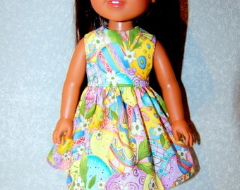 """Dress for 14.5"""" Wellie Wishers or Melissa & Doug Doll Clothes Easter Egg sparkle tkct1209 READY TO SHIP"""