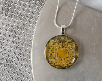 Circuit Board Necklace LARGE Yellow, Recycled Motherboard Jewelry, Wearable Technology, Computer Gift, Computer Programmer, Upcycled