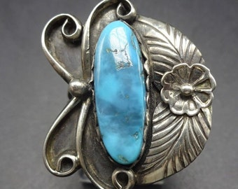 Lovely Vintage NAVAJO Sterling Silver & Blue Arizona TURQUOISE RING size 7, 7.6g