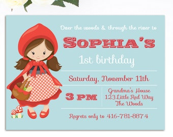 Little Red Riding Hood Invitation - Red Riding Hood Birthday Invitation - Little Red Riding Hood - Printable Invitation - Storybook Party