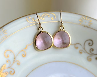 Light Pink Earrings Blush Gold Plated - Bridesmaid Earrings - Pink Wedding Earrings - Bridal Earrings - Blush Wedding Jewelry