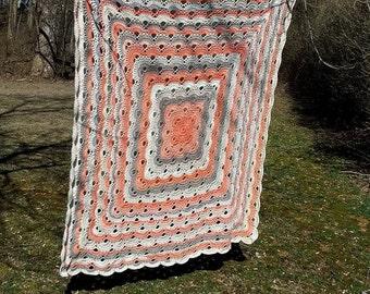 Handmade Crochet Afghan Peach, Beige, Tan colors- Free Shipping