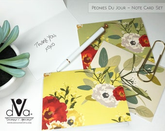 Floral Notecard Set; A2 Note Cards, Set of 6 Blank Inside Note Cards; Peonies du Jour Note Card Collection