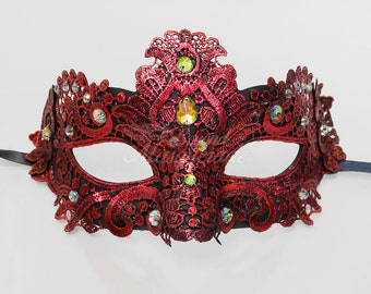 Masquerade Mask, Lace Masquerade Mask, Masquerade Ball Masks, Mask, Mardi Gras Mask, Lace Mask, Masquerade Ball Mask [Red with Gems]