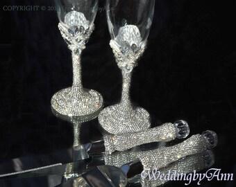 Gorgeous Wedding Champagne Flutes & Cake Server Set, Cake Knife Set, Crystals Wedding Set, Bridal Shower Gift, Wedding Gift, 4 pcs
