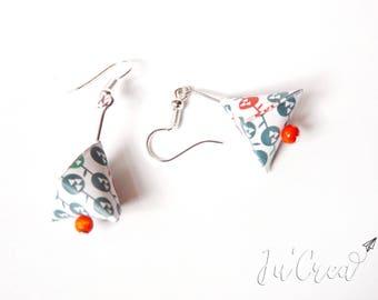 Origami earrings geometric triangle