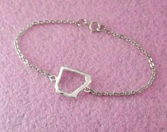 Silver Arkansas Bracelet,Custom Map Bracelet,Personalized Map Bracelet, Anniversary Gift,Arkansas jewelry,Arkansas pendant
