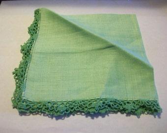 Vintage Handkerchief Soft Green Linen With Hand Crochet Lace Edge Circa 1960 bx1  485636447
