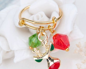 Expandable Ring Double Bar Gold Plated Red & Green Christmas Reindeer Glass Beads, Adjustable One size fits Most