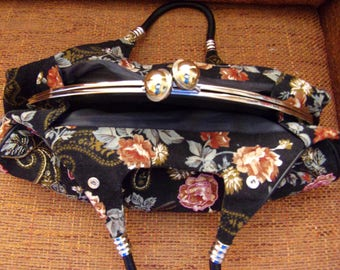Vintage Women's Bag/Retro Handbag/Summer Bag/Corduroy Party Handbag/Black With Embroidered Colorful Flowers/With Beads/Lining/ Pockets