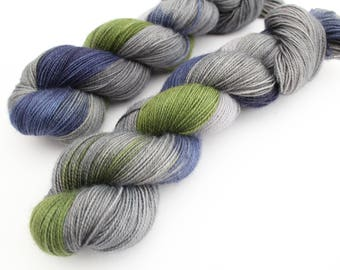 Aragorn LOTR inspired - Hand Dyed Yarn uk ~ Vortex high twist sock  ~ Blue faced Leicester nylon ~ variegated sock yarn ~ grey , blue green