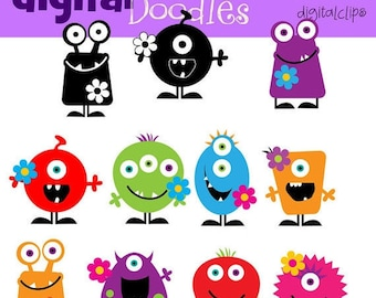 KPM monsters with flowers digital clip art