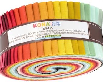 Kona Cotton Solids 2.5-inch Strips Roll-Up - Pond Kona Coordinates - 40pcs