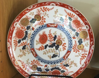 """10-1/2"""" Round Footed Dinner Plate Imari China Export with Oriental Flowers Japan"""