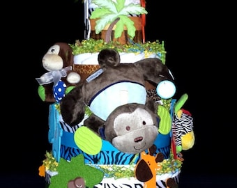 Smiley Monkey Jungle Diaper Cake