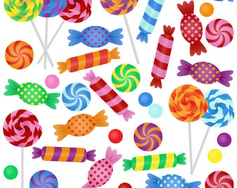 Candy Clipart Clip Art with Lollipops, Peppermints, Hard Candy and Bonbons - Commercial and Personal