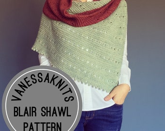 KNITTING PATTERN - The BLAIR Shawl // Modern Eyelet Shawl // Designed with Pichinku Baby Alpaca Yarn  // Level: Easy+