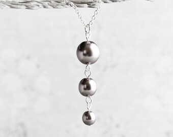 Dark Gray Necklace, Gray Pearl Necklace on Silver Plated Chain, Pewter Bridesmaid Necklace, Gray Wedding Jewelry