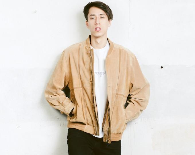 Suede Bomber Jacket . Vintage Zip Up Mens Brown Jacket Flight Jacket Unisex 80s Leather Jacket Outerwear Men Clothing . size Large L