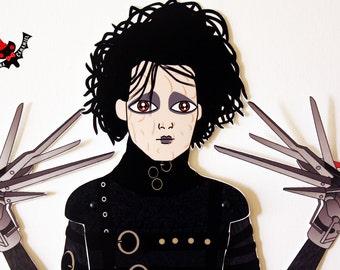 Edward Scissorhands Johnny Depp tribute fan art paper doll assembled articulated