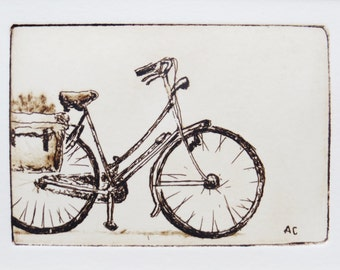 original etching of a bicycle