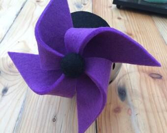 PURPLEPIN . Purple and black pinwheel felt head piece / fascinator.