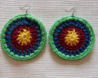 Muticolored Crochet Hoop Earrings
