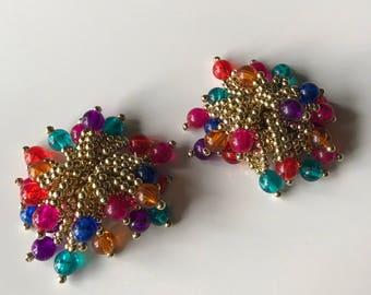 Vintage Cha Cha Clip On Earrings, Huge Multicolor Bead Cluster Gold Tone Clip Earrings,  1980s Statement Earrings