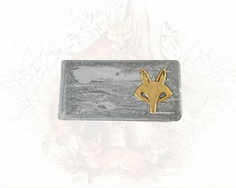Fox Money Clip Inlaid in Hand Painted Silver Glossy Enamel with Personalized and Color Options