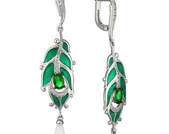 Enamel Silver Earrings