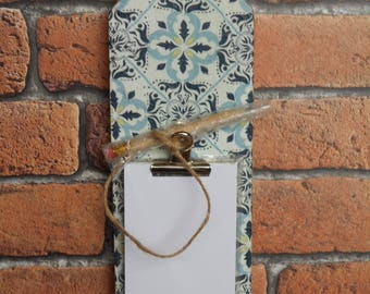 Decoupaged Distressed Wood Notepad Holder with Pencil - Blue Geometric Design